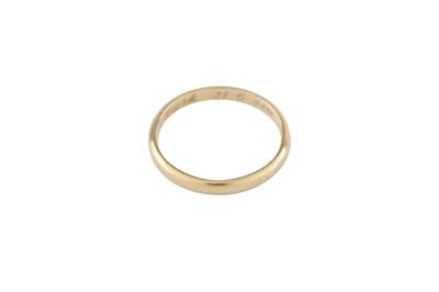 Lot 101-An 18 carat gold wedding band, by Cartier