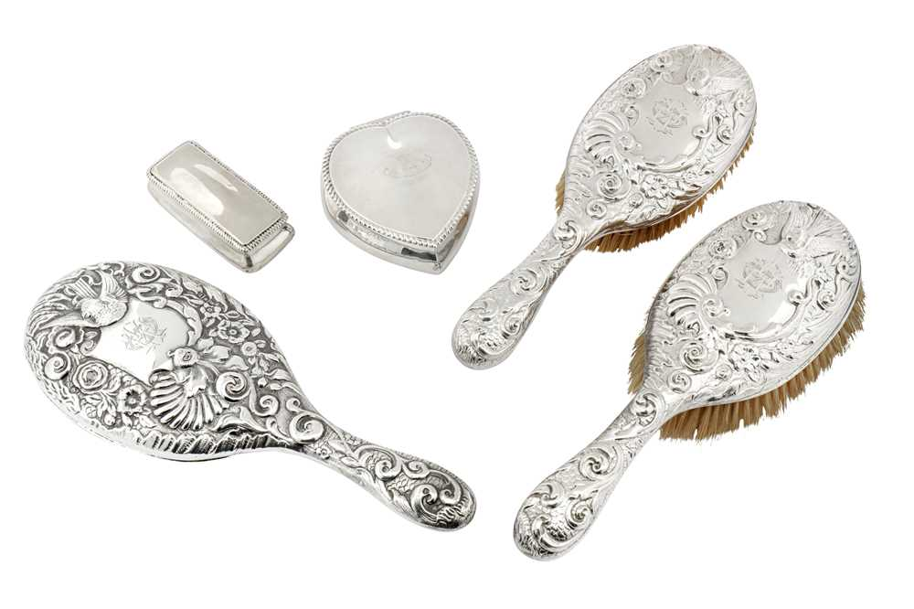 Lot 40-A mixed group of sterling silver dressing table items