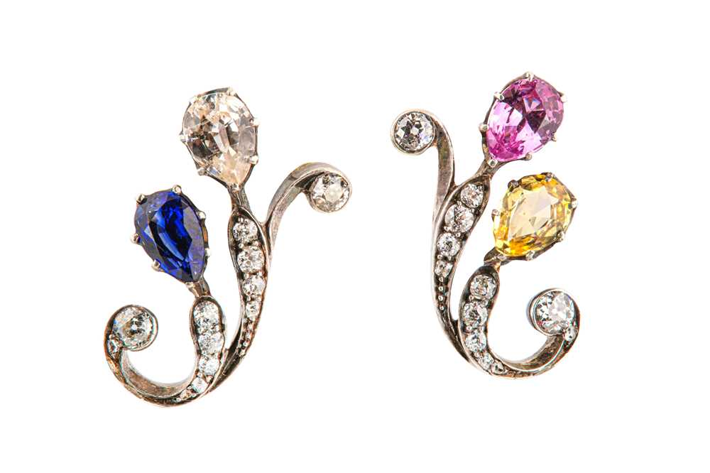 Lot 45-A pair of multi-coloured sapphire and diamond earrings