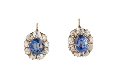 Lot 43-A pair of sapphire and diamond cluster earrings, late 19th century