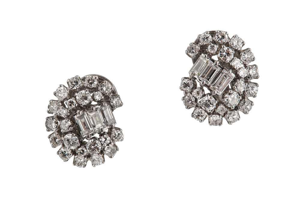 Lot 5-A pair of diamond earclips, circa 1940