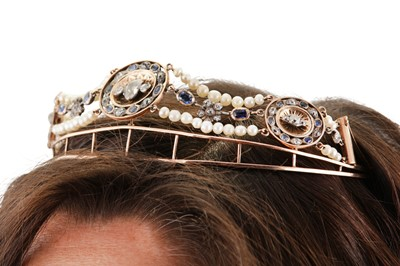 Lot 41-An antique sapphire, pearl and diamond tiara / necklace