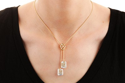 Lot 23-A cultured pearl and diamond pendant necklace