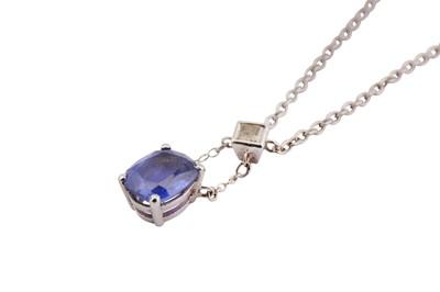 Lot 9-A sapphire and diamond pendant necklace
