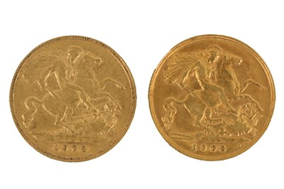 Lot 147-Two Edward VII half sovereigns, dated 1902 and 1908