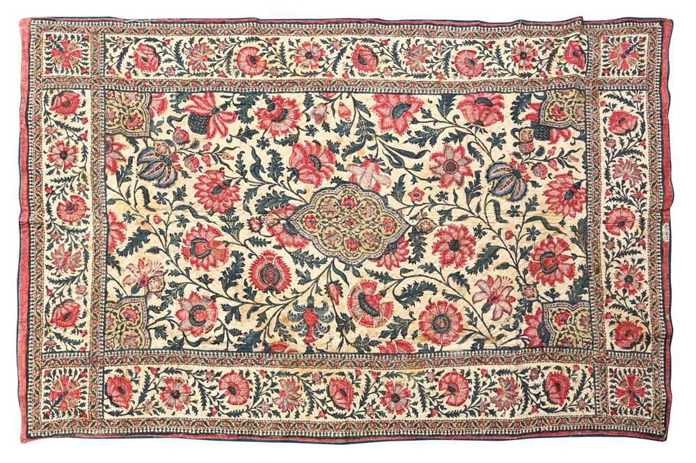 Lot 132-AN INDO-PERSIAN KALAMKARI CHILD'S QUILTED COT COVER