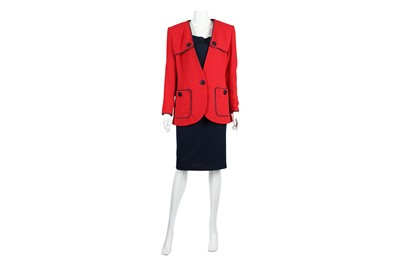 Lot 8-Yves Saint Laurent Red and Navy Three Piece Skirt Suit - Size 42