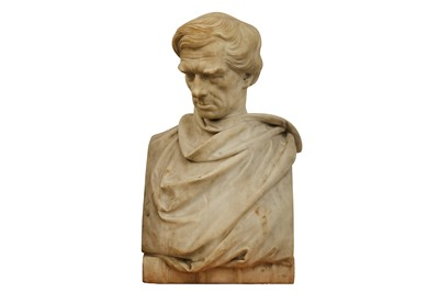 Lot 17-A MID 19TH CENTURY WHITE MARBLE MALE PORTRAIT BUST BY JOHN EDWARD JONES (IRISH 1806-1862)
