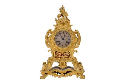 Lot 33-A SECOND QUARTER 19TH CENTURY FRENCH GILT BRONZE MANTEL CLOCK