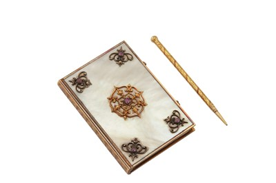 Lot 95-A early-19th century German unmarked gold mounted mother of pearl notebook / aide memoire, possibly Berlin circa 1820