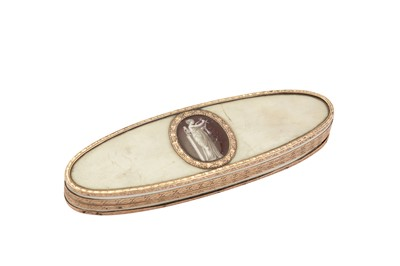 Lot 94-A late 18th century French unmarked gold mounted ivory patch box, circa 1780