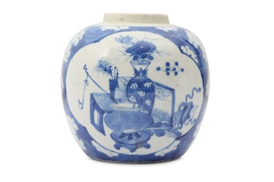 Lot 35 - A CHINESE BLUE AND WHITE 'HUNDRED ANTIQUES' JAR.