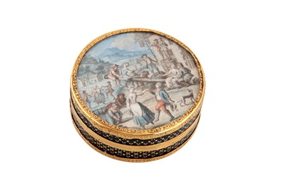 Lot 91-A Louis XVI late 18th century French gold mounted vernis martin and pique work snuffbox, probably Paris circa 1775