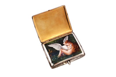 Lot 1040 - An early 20th century German sterling silver and enamel erotic concealed cigarette case
