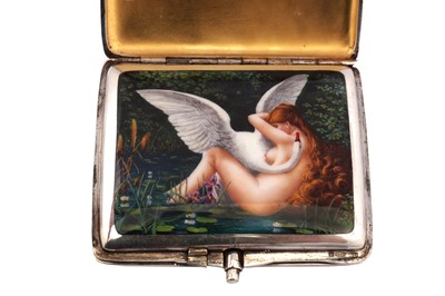 Lot 1040-An early 20th century German sterling silver and enamel erotic concealed cigarette case