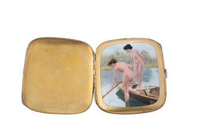 Lot 1042 - An early 20th century German 935 standard silver and enamel erotic concealed cigarette case