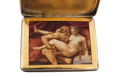Lot 1002-A mid - 18th century unmarked unmarked silver concealed erotic snuffbox, probably French circa 1760