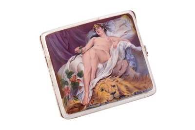 Lot 1051-An early 20th-century sterling silver and erotic enamel cigarette case, i