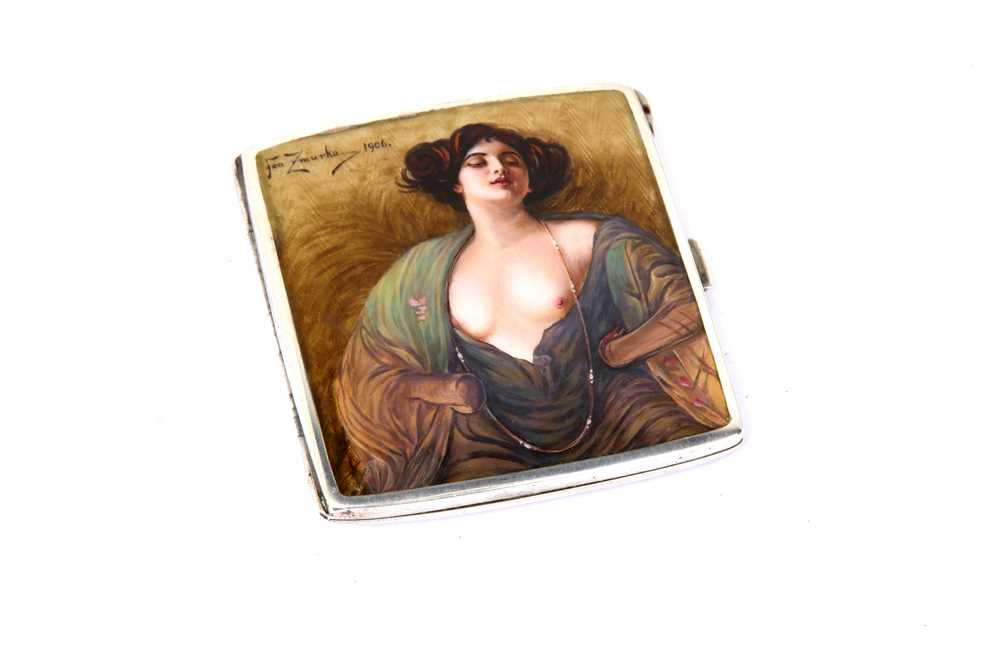 Lot 1021 - An early 20th century German 900 standard silver and guilloche enamel cigarette case