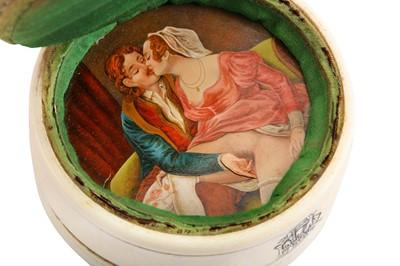 Lot 1014-An unusual late 19th century clockwork erotic ivory pin cushion, circa 1880