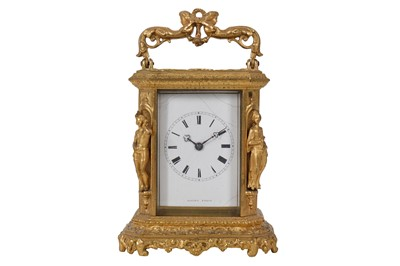 Lot 31-A MID-19TH CENTURY FRENCH GILT BRASS STRIKING CARRIAGE CLOCK BY LUCIEN, PARIS