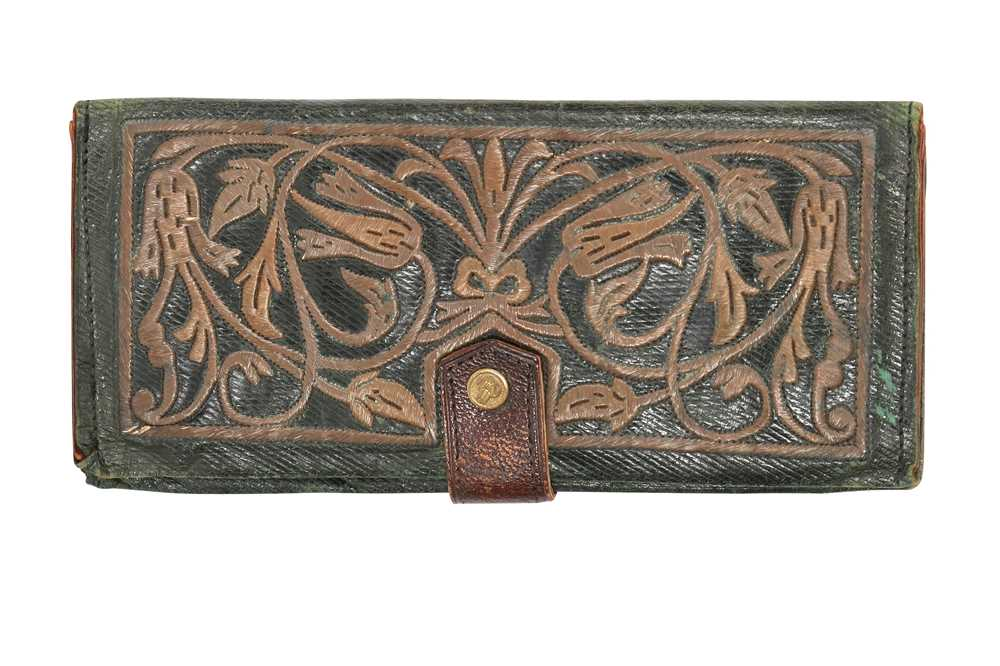 Lot 838-A GREEN LEATHER WALLET WITH METAL THREAD EMBROIDERED TULIPS