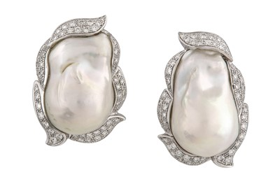 Lot 27-A pair of cultured pearl and diamond earrings