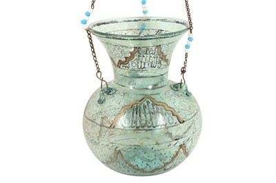 Lot 837-A MAMLUK-REVIVAL ENAMELLED CLEAR GREEN GLASS MOSQUE LAMP