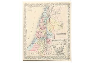 Lot 892-AN ENGRAVED MAP OF PALESTINE BY J.H COLTON