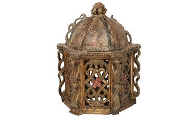 Lot 842-A POLYCHROME-PAINTED WOODEN LANTERN COVER AND A PAIR OF GILT AND PAINTED WOODEN DOOR LINTELS