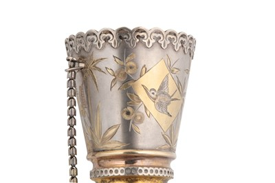 Lot 44-A cased Victorian unmarked parcel gilt silver posy holder, circa 1880
