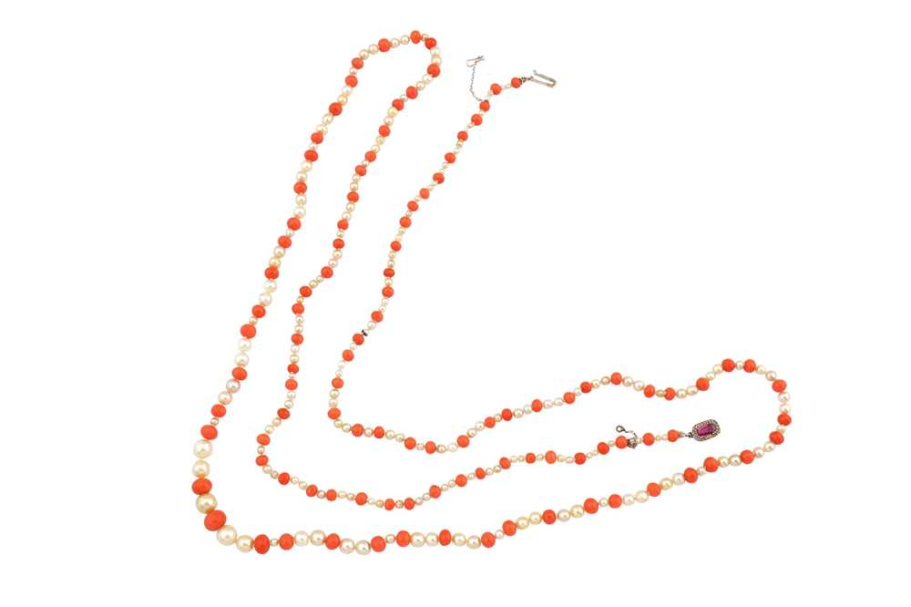 Lot 47-λ A pearl and coral necklace, with a pink sapphire and diamond clasp