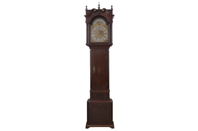Lot 42-A LATE 18TH CENTURY ENGLISH MAHOGANY LONGCASE CLOCK BY PETER CLARE OF MANCHESTER