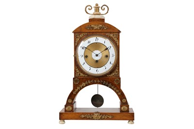 Lot 40-AN EALRY 19TH CENTURY GILT BRONZE MOUNTED WALNUT BIEDERMEIER MANTEL CLOCK