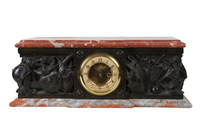 Lot 37-AN EARLY 20TH CENTURY FRENCH PATINATED BRONZE AND RED MARBLE PLINTH CLOCK