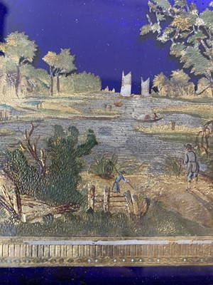 Lot 33 - ATTRIBUTED TO THOMAS COMPIGNE: A PAIR OF 18TH CENTURY  PEWTER, BRASS, GILT AND PAINTED LANDSCAPES