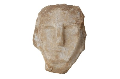 Lot 8-A SOUTH ARABIAN ALABASTER HEAD OF A MAN, CIRCA 1ST CENTURY B.C.- 1ST CENTURY A.D.