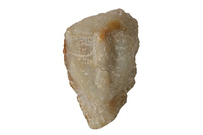 Lot 6-A SOUTH ARABIAN ALABASTER HEAD OF A MAN, CIRCA 1ST CENTURY B.C.- 1ST CENTURY A.D.
