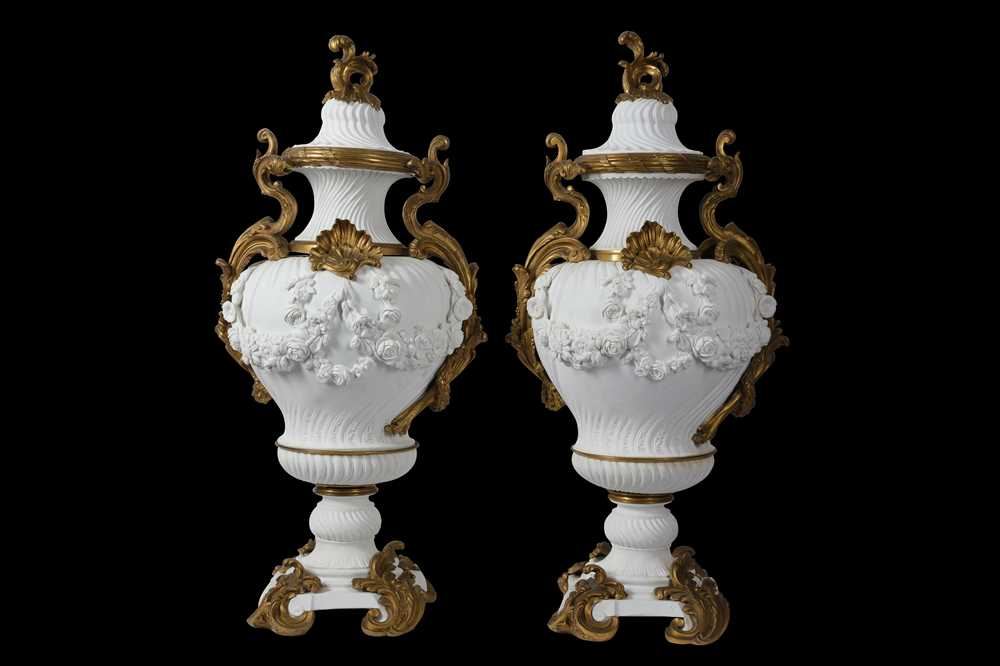 Lot 86 - A PAIR OF VERY LARGE 19TH CENTURY SÈVRES STYLE BISCUIT PORCELAIN VASE AND COVERS
