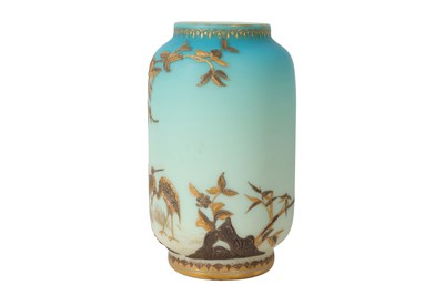 Lot 76 - A LATE 19TH CENTURY STOURBRIDGE GILT AND SILVERED TURQUOISE OPALINE GLASS VASE