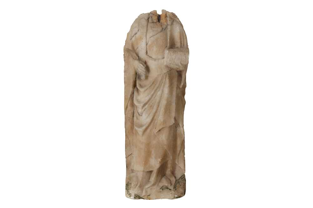 Lot 42 - A 15TH CENTURY ENGLISH NOTTINGHAM ALABASTER RELIEF FIGURE OF A FEMALE SAINT