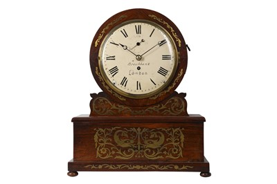 Lot 39-A 19TH CENTURY ENGLISH WILLIAM IV PERIOD ROSEWOOD AND INLAID CUT BRASS INLAID DIAL CLOCK