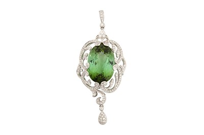 Lot 1234-A green tourmaline and diamond pendant