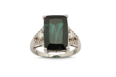 Lot 1229-A green tourmaline and diamond ring