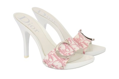 Lot 36-Christian Dior Pink Monogram Mules - Size 35.5
