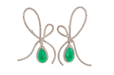 Lot 1231-A pair of emerald and diamond earrings