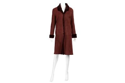 Lot 40-Burberry Burgundy Sheepskin Coat - Size 10