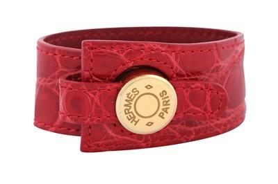 Lot 10-Hermes Red Crocodile Clous de Selle Cuff
