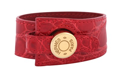 Lot 1216-Hermes Red Crocodile Clous de Selle Cuff