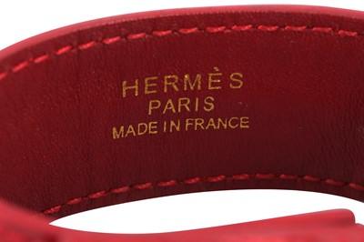 Lot 1216-Hermes Red Crocodile Clous de Selle Cuff